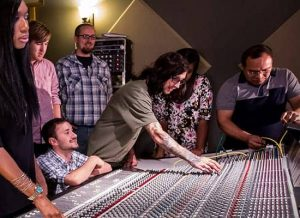 Audio engineering students