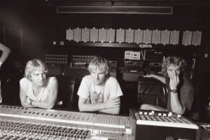 The Police sitting at the Neve console in Montserrat