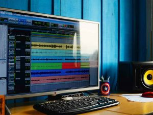 Home studio desk with Pro Tools
