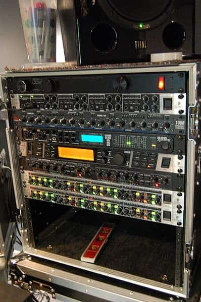 Rack of audio gear with a power conditioner